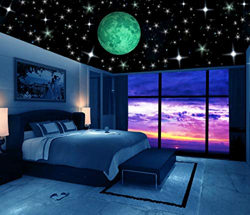 Glow in The Dark Stars w/Bonus 20cm Full Moon Wall Decal -2018 Design- Set of 230 Stars & Large Moon, Long Lasting, Realistic and Bright Glow: Perfect Gift, Room Decor, Decoration and Wall Sticker