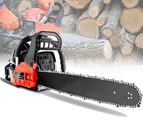 "KGK 20"" Chainsaw Petrol Chainsaw 58CC Gas Chainsaw 20 Inch 62CC 2 Stroke Chainsaw Gas Powered Cordless for Farm,Garden,Ranch Power Chain Saws for Trees with 2 Chains,Tool Kit Gas Power Saw Red"