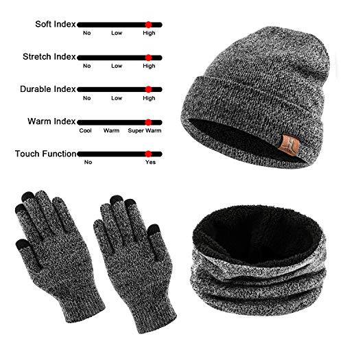 TAGVO Winter Beanie Hat, Scarf, Touch Screen Gloves 3 in 1 Warm Accessories Kit, Soft Fleece Inner Lining Great Warm, Stretchy Knit Beanie Cap, Elastic Neck Warmer, 3 fingers Screen Touch Gloves
