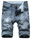 Grimgrow Long Shorts for Men, Casual Slim Fit Short Jeans Destroyed Knee Length Hole Ripped Denim Shorts Grey Blue 36
