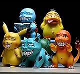 liuyb 5 Unids / Set Pokemon Miserable Parodia Pikachu Charizard Venusaur Gengar Psyduck Figura De Acción Muñecas Juguetes De Cumpleaños para Niños 10-15Cm