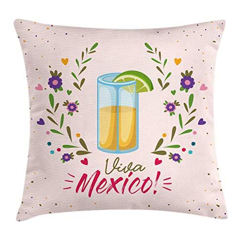 ABAKUHAUS Tequila Sierkussensloop, Bloemen Viva Mexico, Decoratieve Vierkante Hoes voor Accent Kussen, 60 cm x 60 cm, Veelkleurig