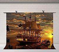 HiYash 5x3ft 日没の海のボートの背景の誕生日パーティー赤ちゃんの誕生日の装飾バナー美しい思い出のある家族の装飾レコード写真撮影の背景写真スタジオの小道具ビニール素材