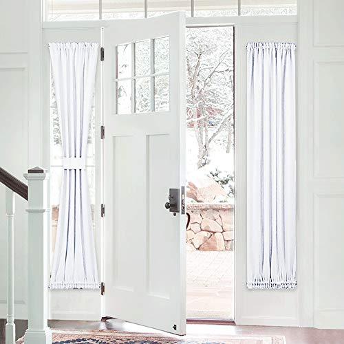 PONY DANCE French Door Curtain - Heavy-Duty Solid Rod Pocket Light Filtering Window Treatment for Sliding Glass French Door with Adjustable Tieback, 25 x 72-inch, Pure White, 1 Piece