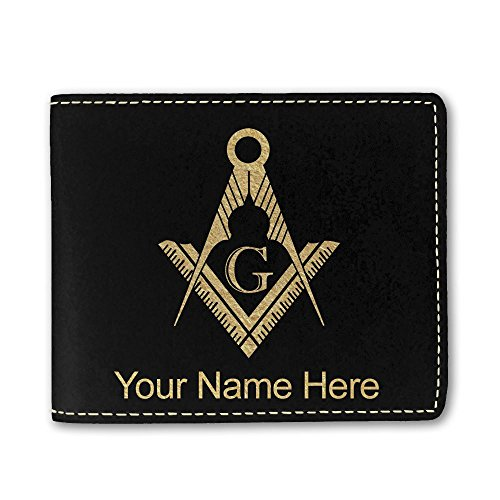 Faux Leather Wallet, Freemason Symbol, Personalized Engraving Included (Black)