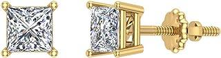 Orecchini a bottone con diamanti a taglio princess, oro 14 carati (G, SI)