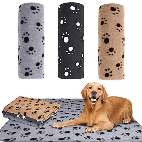 JPYH 3 Stück Haustierdecke für Hund/Katze,Weiche Fleecedecke für Hunde und Katzen,Paw Print Kätzchen weiche warme Decke für Tiere 70 X 100cm
