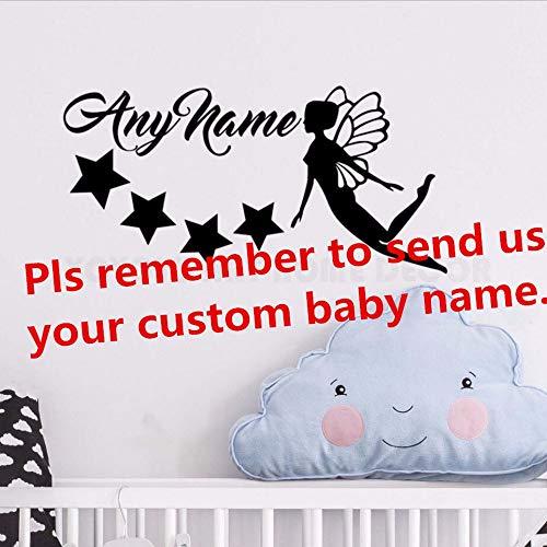 Gwgdjk Personalisierte Name Fee Sterne Wandaufkleber Jeder Name Customade Mädchen Schlafzimmer Wand Dekor Abziehbilder Kunst Vinyl Wandbild Für Kindergarten