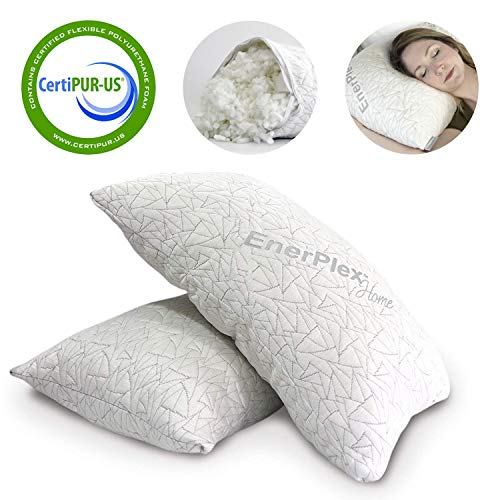 EnerPlex CertiPUR-US Certified Never-Flat 2-Pack Luxury King Size Pillow Adjustable Shredded Memory Foam High End Quality Machine Washable Removable Bamboo Cover King Size Lifetime Promise