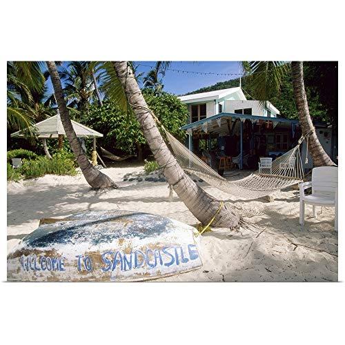 GREATBIGCANVAS Hammock Between Palms, Upturned Boat and Fine Art Poster Print, Home Decor Artwork, 30'x20'