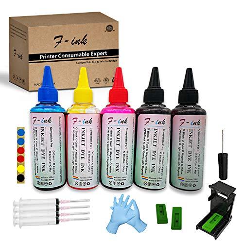 F-ink 5 botellas de 100 ml de tinta y herramientas de recarga de tinta compatibles con cartuchos de tinta HP 303 305 307 21 22 338 339 343 901 303XL 305XL 307XL