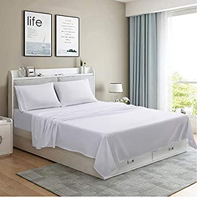 MOONCAST 4 Pieces Full Bed Sheet-Extra Soft and Hotel Luxury Feeling-Durable Machine Washable Microfiber-White Bed Sheet Set(Full,White)