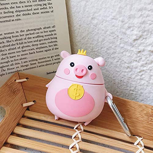 ICI-Rencontrer 3D Creative Distinctive Vivid Crown Pig Pug Cartoon Animals Design Airpods Case Cute Piggy Soft Silicone Wireless Charging Earphone Shockproof Protector with Hook Pink