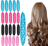 Foam Hair Curlers, Pillow Cloth Hair Rollers,No Heat Sleeping Soft Sponge Rollers for Long, Short, Thick & Thin Hair Spiral Curls Hair Styling Rollers (4colors)