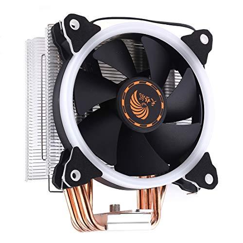 LYYCEU 6 Tubos de cobre CPU Ventilador de calor hidráulico Ventilador de enfriamiento Ventilador silencioso con luces coloridas RGB 4 Pin para Intel: LGA775 1150 1151 1155 1156 1366 2011 (AMD: FM1 FM2