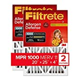 Filtrete 20x25x4, AC Furnace Air Filter, MPR 1000 DP, Micro Allergen Defense Deep Pleat, 2-Pack (exact dimensions 19.88 x 24.56 x 4.2)