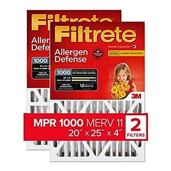 Filtrete 20x25x4 AC Furnace Air Filter MPR 1000 DP Micro Allergen Defense Deep Pleat 2-Pack  actual dimensions 19.88 x 24.63 x 4.31