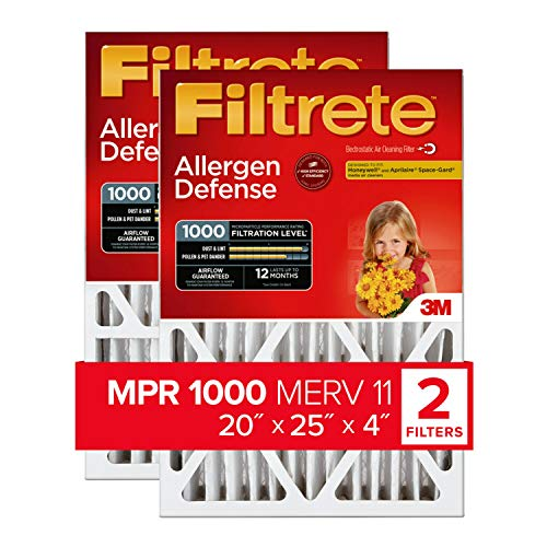 Filtrete 20x25x4, AC Furnace Air Filter, MPR 1000 DP, Micro Allergen Defense Deep Pleat, 2-Pack (exact dimensions 19.88 x 24.56 x 4.2)