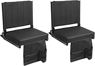 SPORT BEATS Stadium Seats for Bleachers Stadium Chair with Back Support and Wide Padded Cushion-Includes Shoulder Strap and Cup Holder