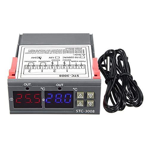 KKmoon Controlador de temperatura y humedad Regulador Pantalla digital Termostato Higrómetro con sensor integrado Salida de relé de sonda DC 12V, DC 24V, AC110-220V