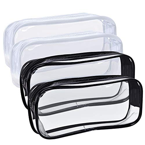 4 PCS Clear PVC Pencil Case with Zipper, Portable Transparent Big Capacity Pencil Bag Makeup Pouch for Office Stationery and Travel Storage (Black and White)