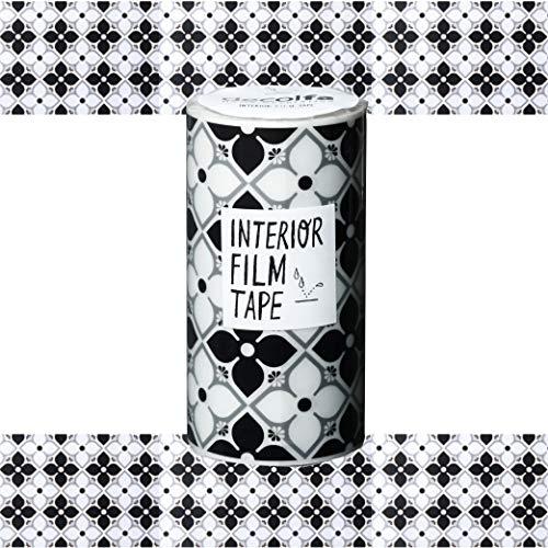 ニトムズ デコルファ (decolfa) インテリア フィルムテープ フラワー/ブラック 水回りに使える 幅10cm×長さ8m M3851
