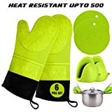Oven Mitts and Pot Holder- Extra Long Silicone Oven Mitt Heat...