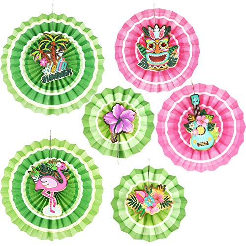 Chuangdi 6 Pieces Hawaiian Aloha Party Paper FansLuau Tropical SummerHanging Tissue Fans Hawaiian Party Decorations Supplies for Birthday, Hawaiian, Tropical, and Summer Beach Party
