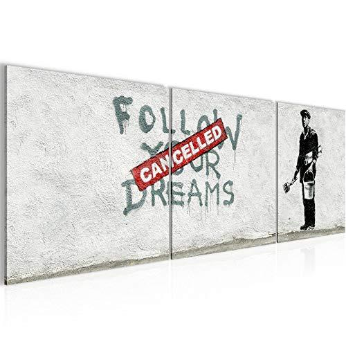 Lijst muur decor Banksy volgt uw dromen - 120 x 40 cm canvas kamer appartement met uitzicht - klaar te hangen - 301933