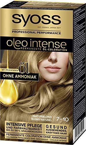 Syoss Oleo Intense Permanente Öl-Coloration 7-10 Naturblond, mit pflegendem Öl & ohne Ammoniak, 3er Pack(3 x 115 ml)