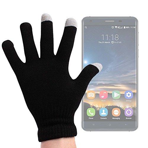 DURAGADGET Guantes Negros para Pantalla Táctil para Smartphone Oukitel K6000 Pro | Ulefone Metal - Talla Grande - ¡Ideales para El Invierno!