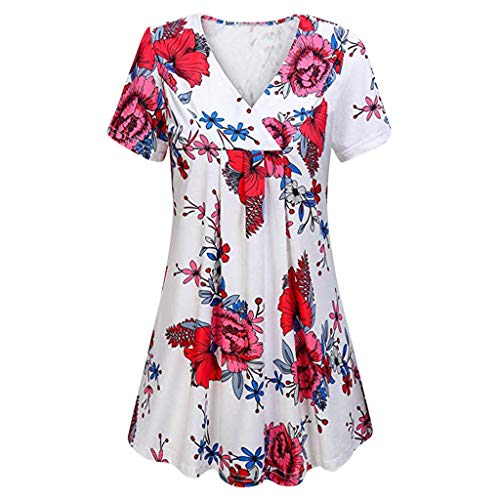 Zackate Womens Plus Size Flare Sleeve Shirts Holle ronde hals Bloemen Boheemse Tuniek Tops Blouses Keyhole T-Shirts