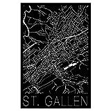 artboxONE Poster 60x40 cm Schwarzweiß Retro Map St. Gallen