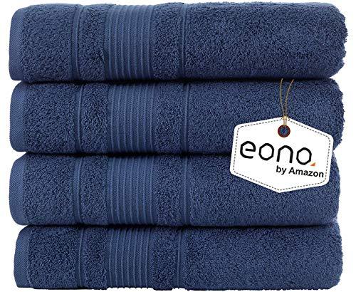 Eono by Amazon, Juego de 4 Piezas de Toallas de baño (28 x 55 Pulgadas)(Azul Marino)