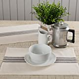 Market Place Gray Grain Sack Stripe Placemats, Set of 4, 12' x 18', Farmhouse Style, Cream & Grey