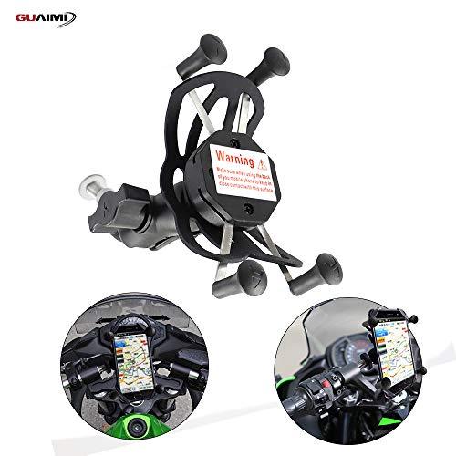GUAIMI Multifunktion Handyhalterung Kamerahalter für Original-Lenkrohrbefestigung 360° drehbar Kompatibel mit Kawasaki Ninja650 17-20 Ninja1000 11-20 GTR1400 06-20 Ninja H2SX 18-20 Z1000SX 11-20