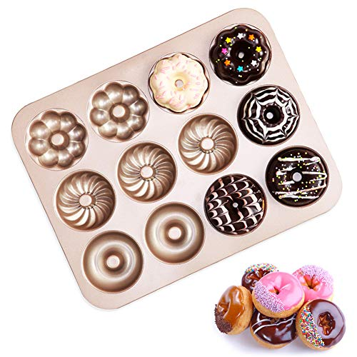 Donut Pan, Non-Stick 12 Cavity Doughnut Baking Pans Donut Maker Carbon Steel Donut Mold Tray for Full-Size Donuts, Bagels, Biscuit, Freezer, Oven, and Dishwasher-Safe Mini Bagel Pan