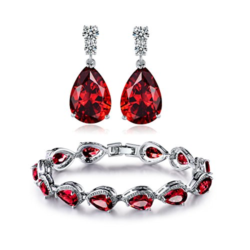 GULICX Silver Tone Red Color Cubic Zircon Jewellery Set Teardrop Party Drop Earrings Tennis Bracelet Chain Gift for Women 18K White Gold Plated