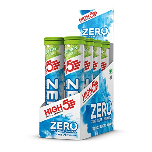 HIGH5 ZERO Electrolyte Hydration Tablets Added Vitamin C, Citrus, Pack of 8 x 20 Tubes