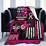 Socira Flannel Sherpa Blanket,Breast Cancer Awareness Pink Ribbon Patchwork Small Fleece Sofa Blanket ,Comfy Camping Lap Blanket,Super Soft Thin Noon Break Blanket for Office Home Car 40''X50''
