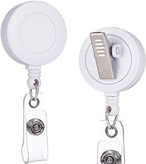 Badge Reel - 2 Pack - Retractable Badge Holder with Swivel Alligator Clip (White)