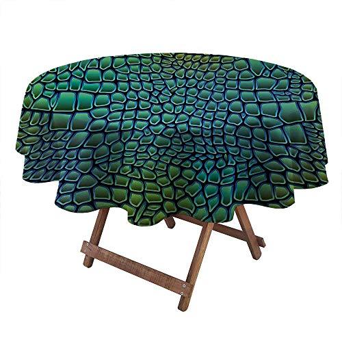 ThinkingPower Round Tablecloth Alligator Skin African Animal Crocodile Reptile Safari Wildlife Vibrant Artwork Indoor/Outdoor Tablecloth Elegant Beauty for Everyday Use Green Blue (Diameter50 Inch)