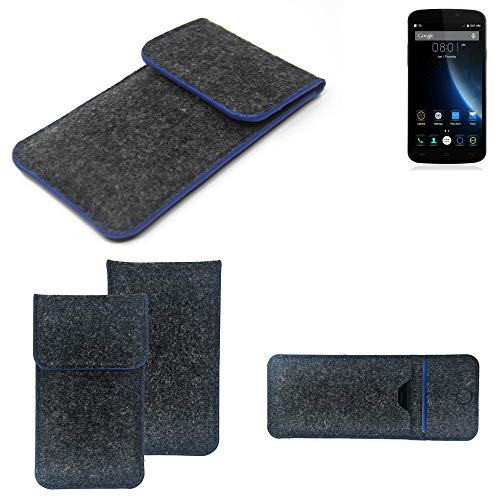 K-S-Trade Filz Schutz Hülle Für Doogee X6S Schutzhülle Filztasche Pouch Tasche Hülle Sleeve Handyhülle Filzhülle Dunkelgrau, Blauer Rand