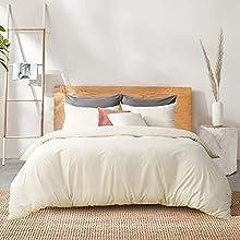 RUIKASI Juego de funda nórdica para cama de matrimonio, funda nórdica de 260 x 240 cm + 2 fundas de almohada de 50 x 80 cm de microfibra, funda de edredón transpirable de color liso con color crema