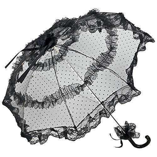 VON LILIENFELD Spitzenschirm Damen Klein Deko Accessoire Brautschirm Hochzeitsschirm Tüll Salomea schwarz