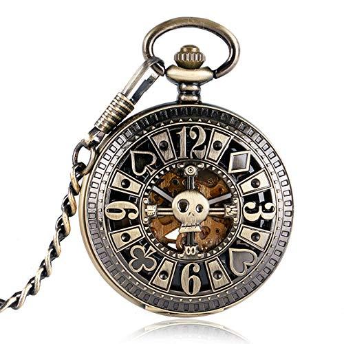 XVCHQIN Automatische mechanische Poker Hohl Anhänger Schädel Bronze Taschenuhren mit Kette Männer Frauen Skelett Uhr, Bronze