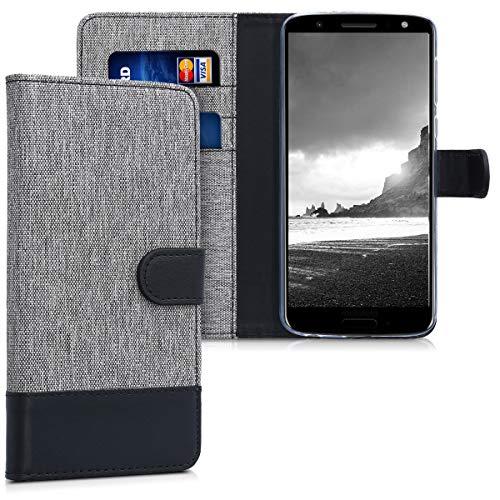 kwmobile Hülle kompatibel mit Motorola Moto G6 - Kunstleder Wallet Case mit Kartenfächern Stand in Grau Schwarz