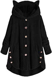 Auimank Women Button Coat SolidTops Hooded Pullover Loose Sweater Blouse Plus Size
