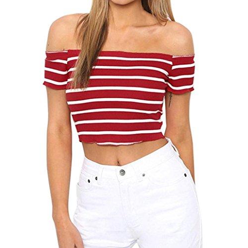 Homebaby® T Shirt Donna Vintage A Strisce- Maglietta Donna Manica Corta Elegante - Sciolto Top Tumblr Estiva Particolari Magliette Corte Ragazza Tumblr T-Shirt Donna (M, Rosso)