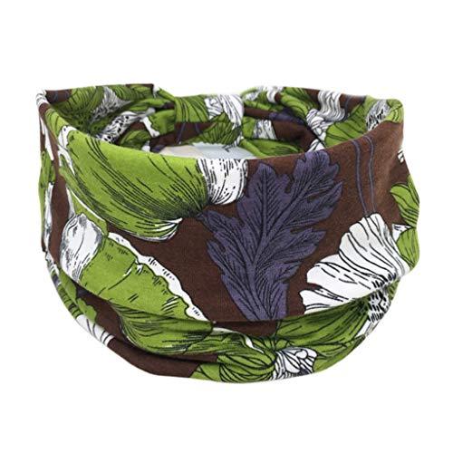 Lergo - Diadema floral bohemia para mujer, banda ancha para el pelo, turbante que absorbe la humedad